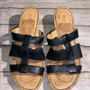 BORN wedge Sandals Size 6.5 Black